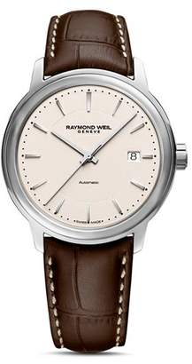 Raymond Weil Maestro Brown Leather Strap Automatic Watch, 39.5mm