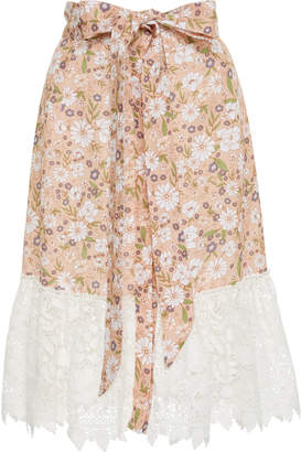 Miguelina Carlene Cotton Lace-Trimmed Linen Skirt