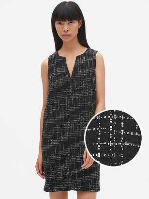 Gap Sleeveless Split-Neck Shift Dress in Tweed