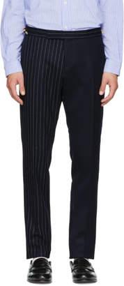 Thom Browne Navy Fun Mix Chalk Stripe Low-Rise Skinny Side Tab Trousers
