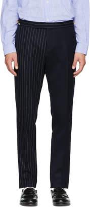 Thom Browne Navy Fun Mix Chalk Stripe Low-Rise Skinny Side Tab Trousers