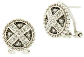 Freida Rothman Two-Tone Rhodium Plated Sterling Silver Industrial Pave CZ Stud Earrings