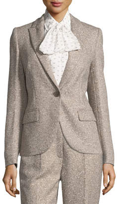 Escada Tweed Peak-Lapel Blazer