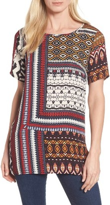 Women's Chaus Sahara Patchwork Mixed Media Top $69 thestylecure.com