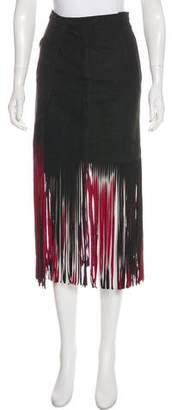 Tamara Mellon Suede Fringe Midi Skirt