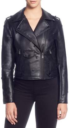 Catherine Malandrino Star Stud Faux Leather Moto Jacket