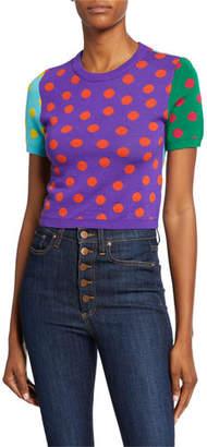 Alice + Olivia Ciara Dot Colorblock Crewneck Short-Sleeve Reversible Sweater