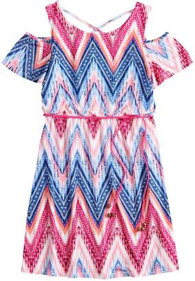 Girls 7-16 Three Pink Hearts Printed Cold-Shoulder Dress