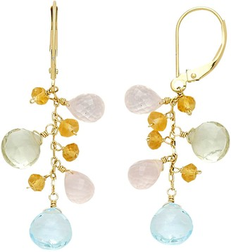 14k Gold Gemstone Briolette Drop Earrings