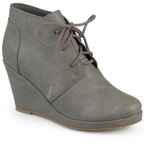 Journee Collection Women's Journee Collection Gentry Lace-Up Wedge Booties