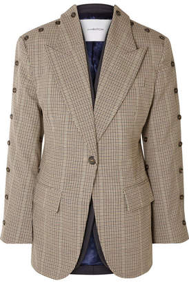 BEIGE Pushbutton - Convertible Button-embellished Checked Wool-blend Blazer
