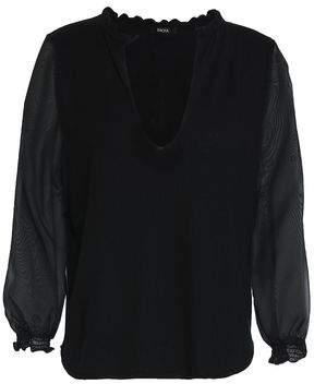 Raoul Chiffon-Paneled Silk And Wool-Blend Top
