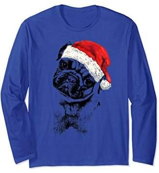 Pug Dog in Santa Hat Christmas pajamas LONG SLEEVE shirt