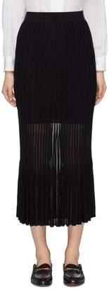 CRUSH Collection Sheer hem pleated knit skirt