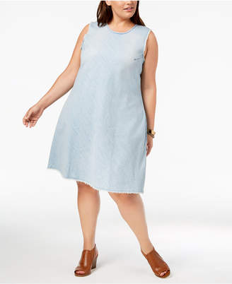 Style&Co. Style & Co Plus Size Cotton Raw-Hem Denim Swing Dress, Created for Macy's