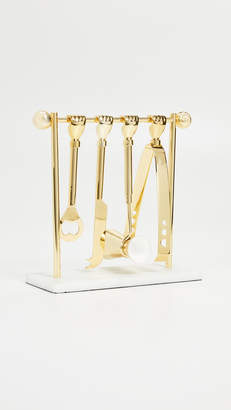 Jonathan Adler Brass Barbell Barware Set