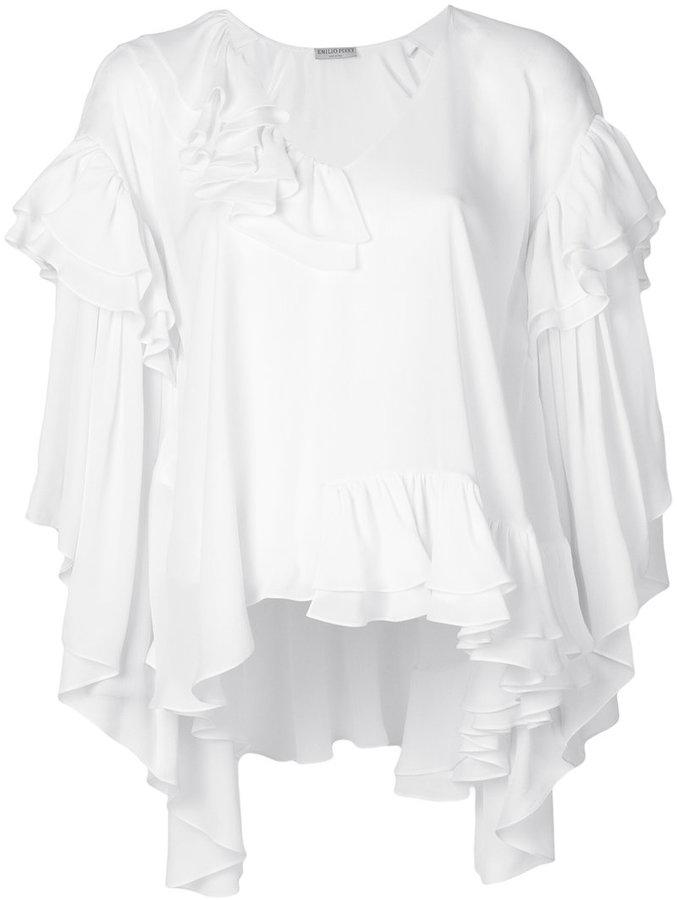 Emilio Pucci frilled shift blouse