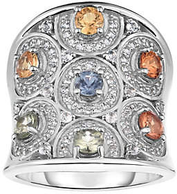 ING QVC Sterling 2.25 cttw Sapphire & White Topaz R