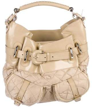 Burberry Leather-Trimmed Quilted Satchel