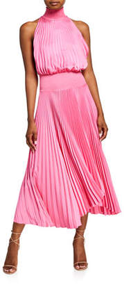 A.L.C. Renzo Pleated Halter Midi Dress