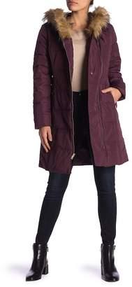 Cole Haan Faux Fur Trim Hooded Coat