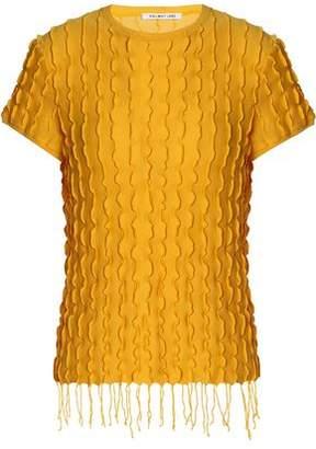 Helmut Lang Fringe-Trimmed Crinkled Modal And Pima Cotton-Blend Top