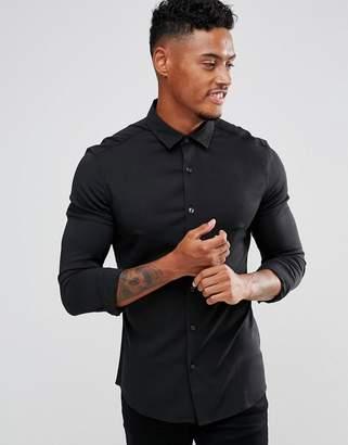 Asos DESIGN skinny viscose shirt in black