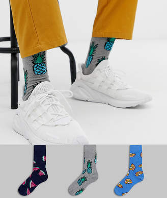 Asos Design DESIGN ankle socks with pineapple ombre design 3 pack multipack saving