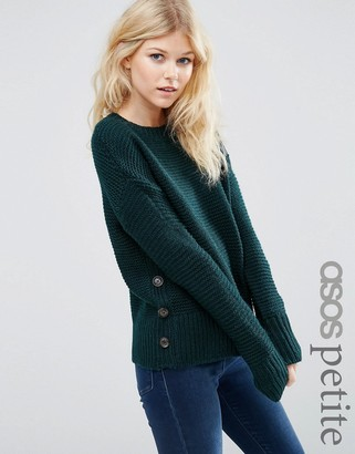 ASOS Petite ASOS PETITE Sweater in Wool Mix with Button Detail $49 thestylecure.com