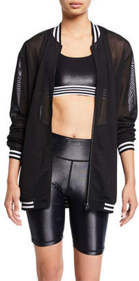 Fenix All Striped Zip-Front Mesh Bomber Jacket