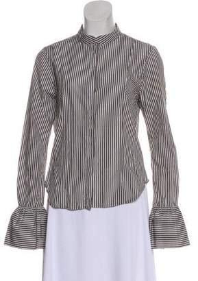 Frame Ruffle-Accented Button-Up Top
