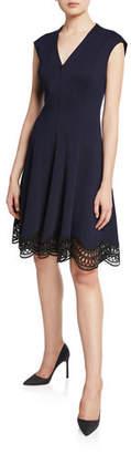 Elie Tahari Heidi Zip-Front Cap-Sleeve Lace-Hem Dress