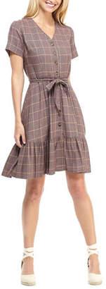 Gal Meets Glam City Grid Plaid V-Neck Short-Sleeve Tie-Waist Dress