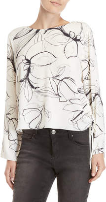 Vince Camuto Floral Side Drawstring Blouse