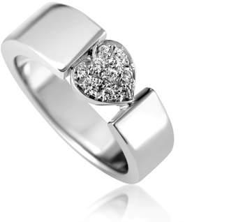 Piaget Estate 18k White Gold Diamond Heart Ring, Size 6.25