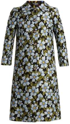 Dolce & Gabbana Single Breasted Floral Jacquard Coat - Womens - Blue Multi