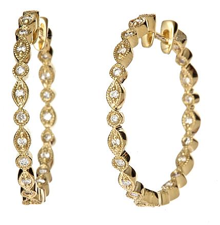 KC Designs Yellow Gold Diamond Inside Out Hoop Earrings