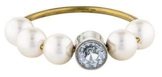 Lanvin Faux Pearl & Crystal Stretch Bracelet