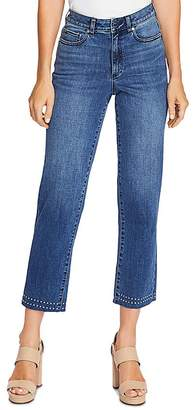 Vince Camuto Studded High-Rise Crop Straight Jeans in Spectrum Blue