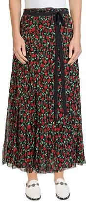 The Kooples Rosa Rosa Pleated Floral-Print Maxi Skirt