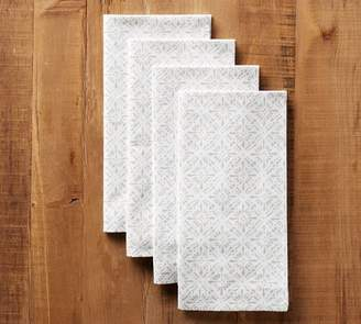 Pottery Barn Block Print Diamond Trellis Napkin, Set of 4 - Neutral