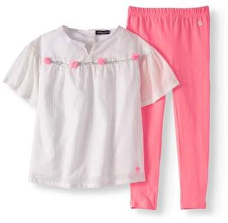 Limited Too Baby Toddler Girl Poplin Blouse & Leggings, 2pc Outfit Set
