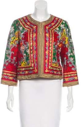 Oscar de la Renta Embroidered Open Jacket
