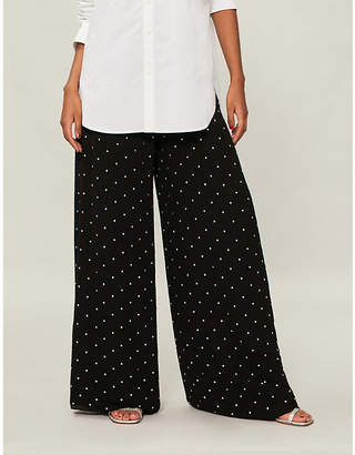 Temperley London Twinkle crystal-embellished wide high-rise woven trousers