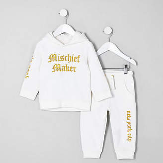 River Island Mini boys white mischief' hoodie outfit