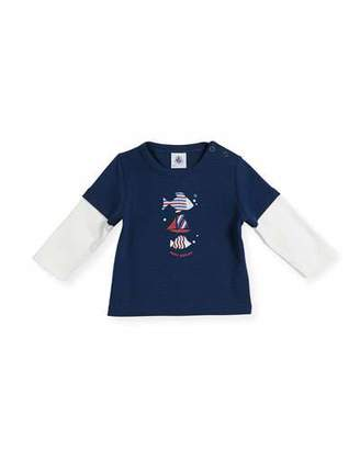 Petit Bateau Long-Sleeve Illusion Fish T-Shirt, Size 6-36 Months