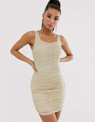 TFNC shimmer mesh ruched mini dress in light gold