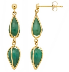 7 Carat Emerald 14K Yellow Gold Earrings