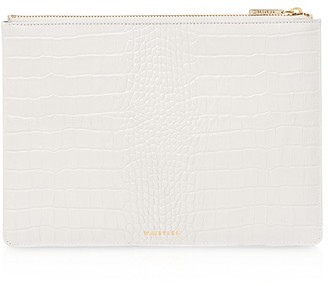 Whistles Shiny Medium Croc-Embossed Leather Clutch $139 thestylecure.com
