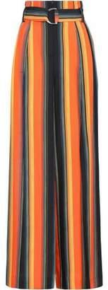 Diane von Furstenberg Belted Striped Silk Wide-leg Pants